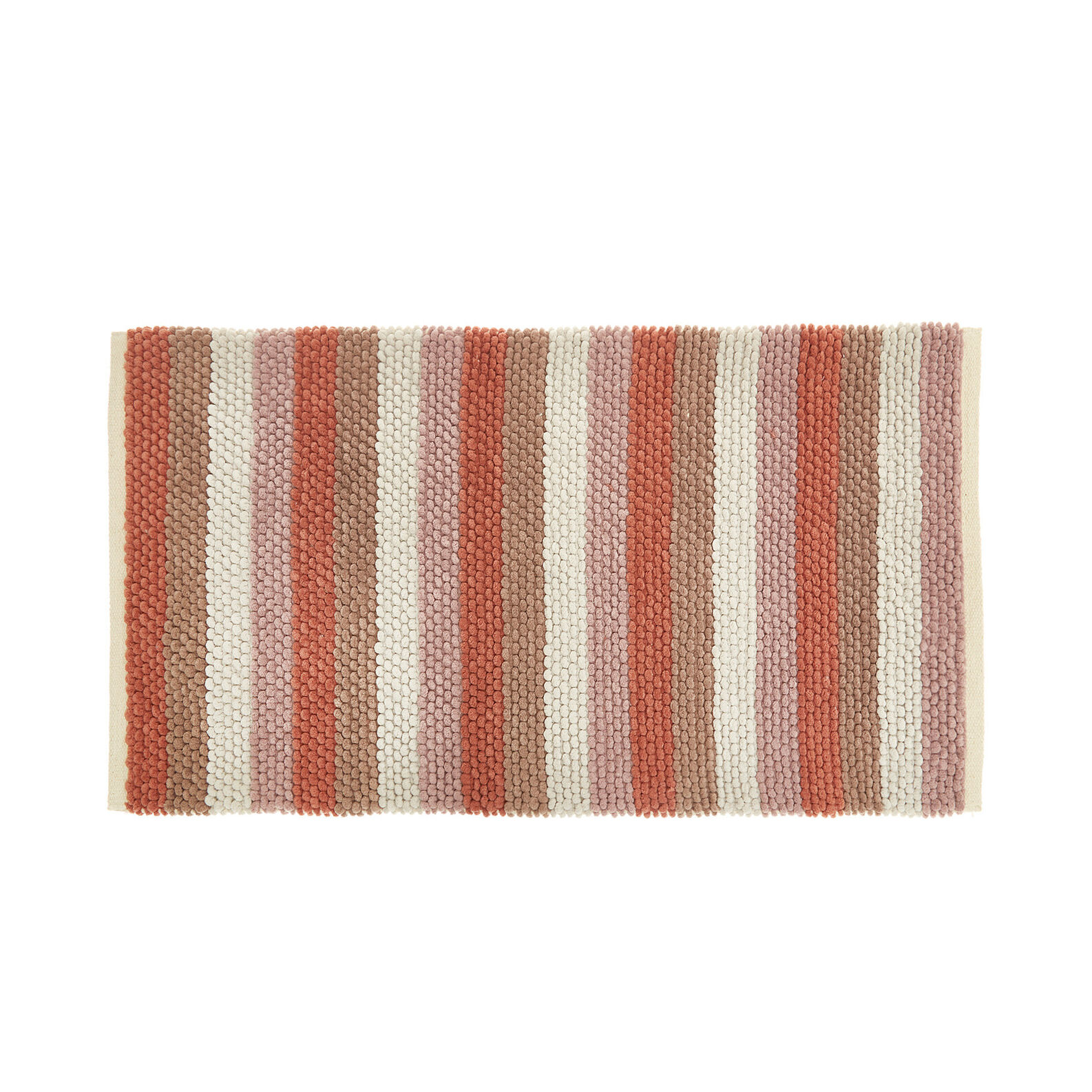 Chenille bath mat with stripes.
