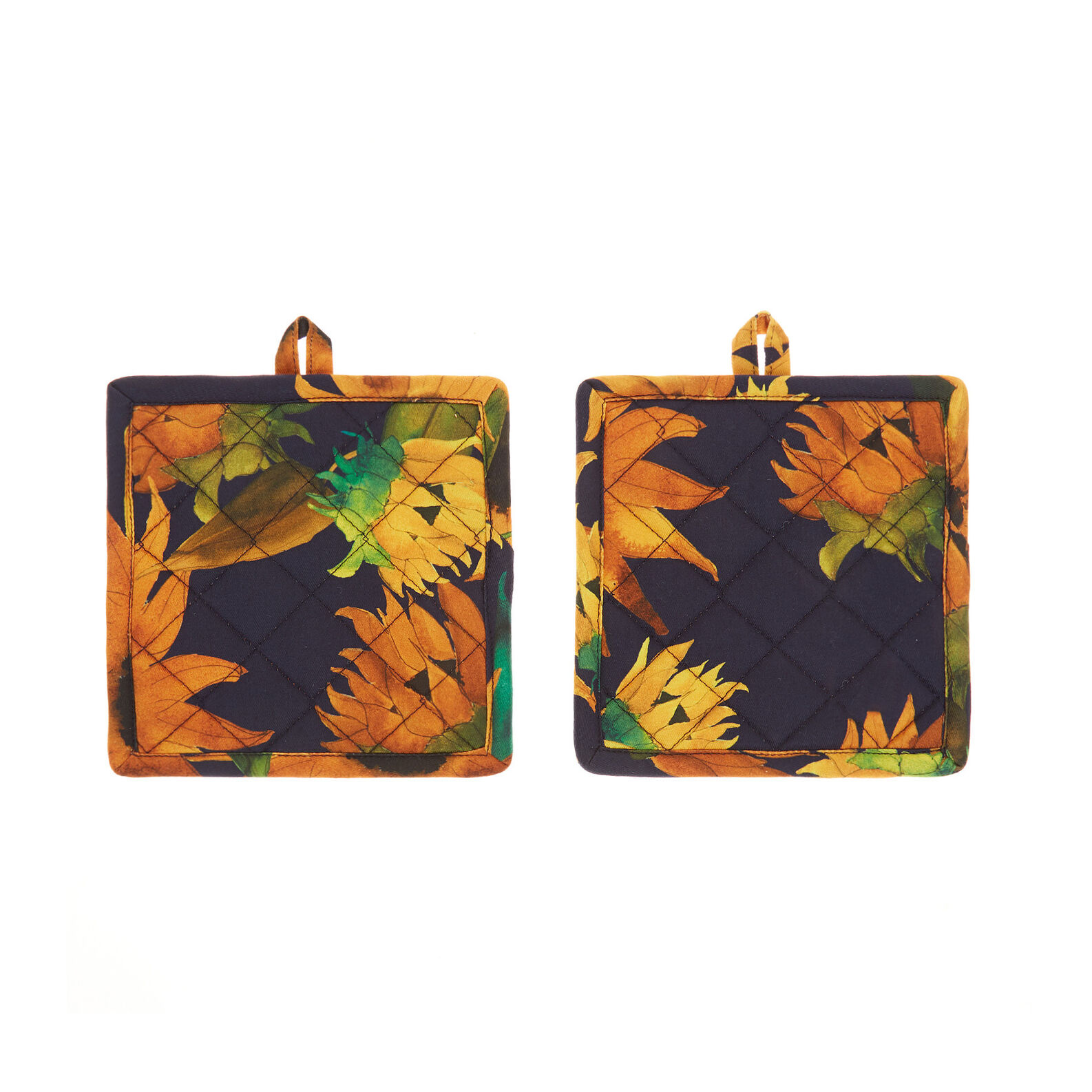 2-pack pot holders in cotton twill with sunflowers motif