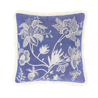 Cushion in 100% cotton with floral embroidery