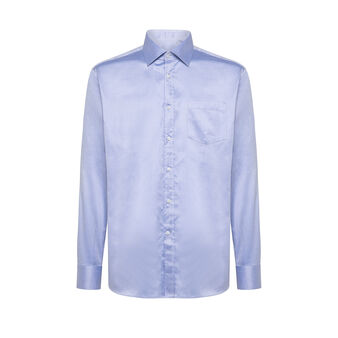 Regular-fit cotton shirt with cutaway collar
