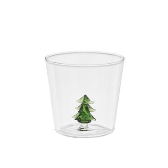 Glass tumbler with tree detail