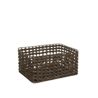 Woven plastic basket with handles