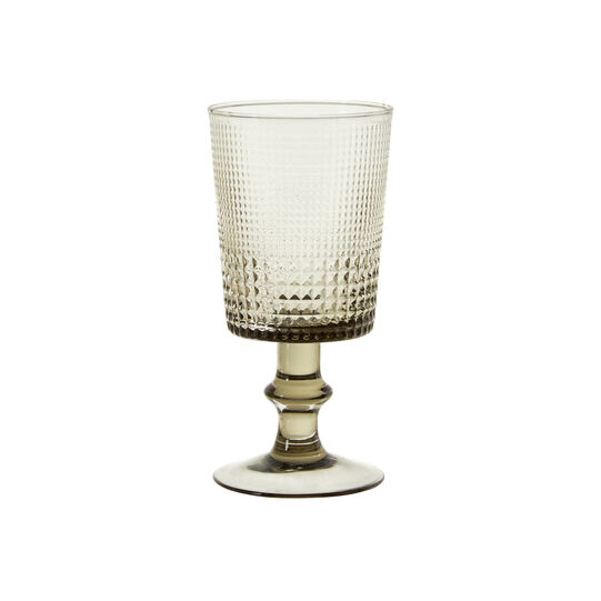 Glass wine goblet with geometric design
