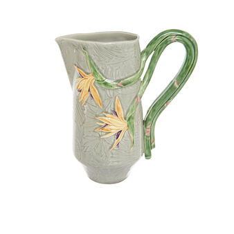 Ceramic carafe with tropical flower decoration