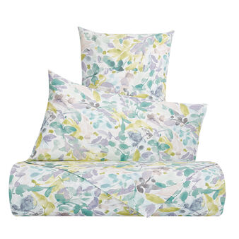 Duvet cover set in cotton percale with foliage pattern