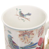 Mug in new bone China with bird decoration