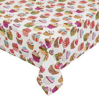 Water-repellent cotton tablecloth with cupcakes print by Sandra Jacobs design