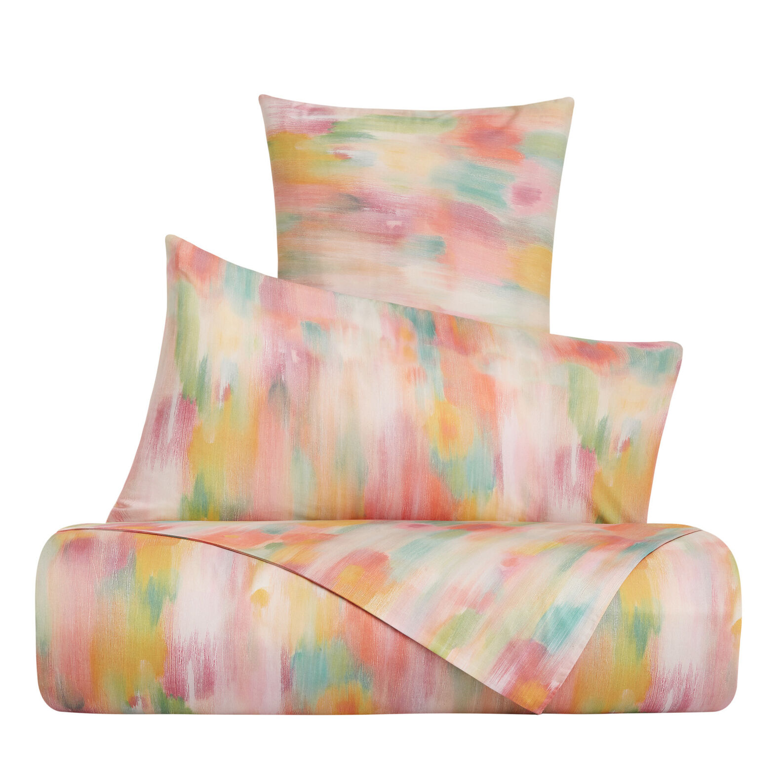 Duvet cover set in cotton percale with brush strokes pattern