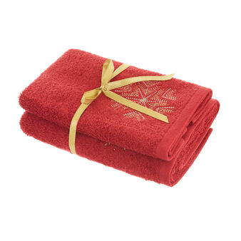 Set of 2 100% towels with embroidered snowflake