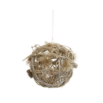 Decorative bauble with glitter branches and pine cones