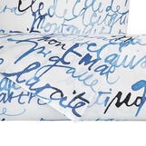 Cotton satin duvet cover set with lettering pattern
