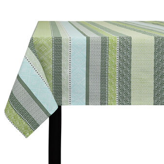 100% cotton tablecloth with multi-striped print