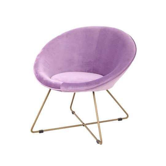 Round armchair in velvet and steel
