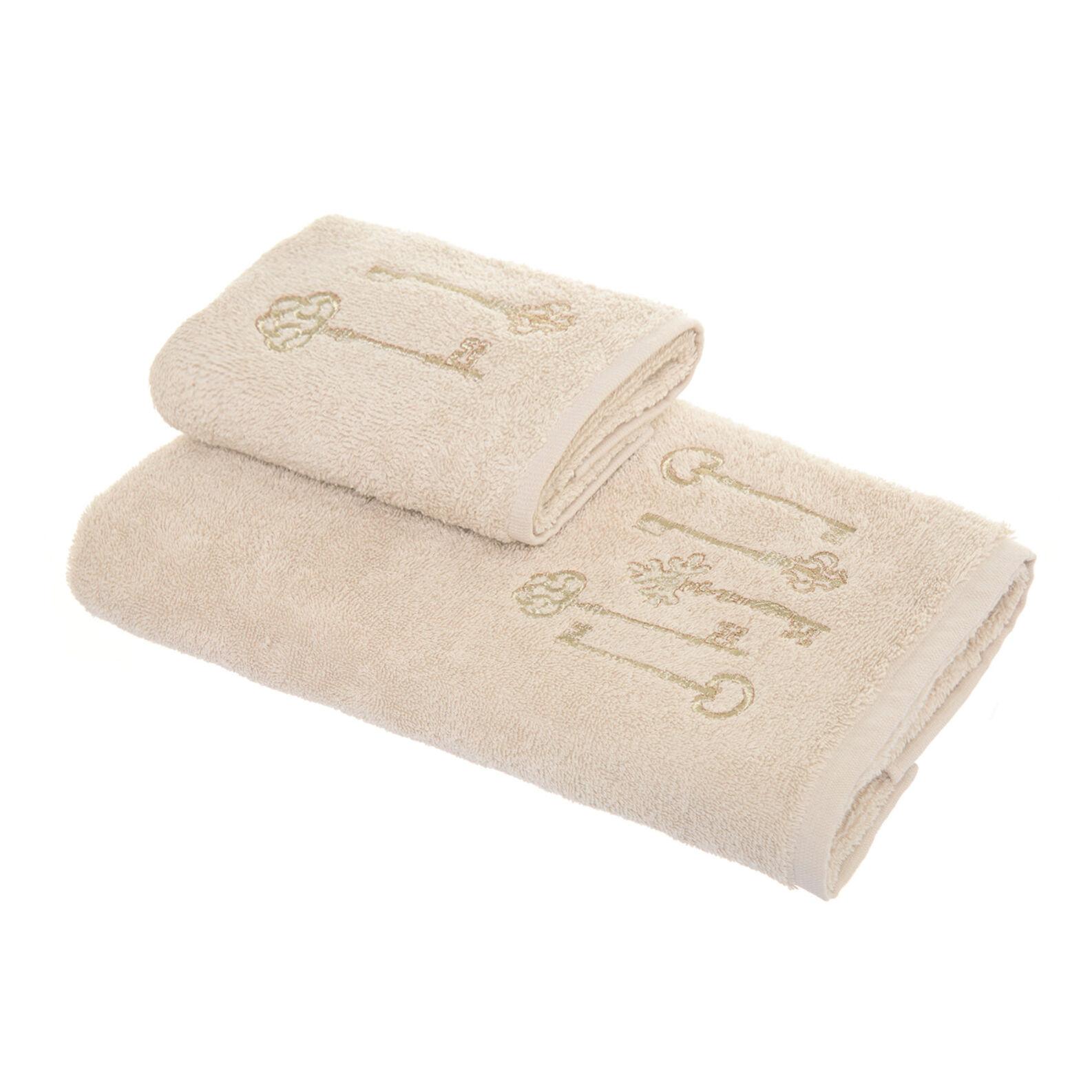 Set 2 asciugamani ricamo chiavi