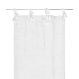 Linen blend curtain  with bows
