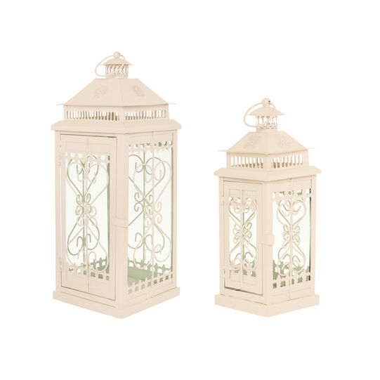 Lanterna vetro e metallo decorata