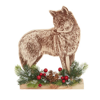 Wolf-shaped decoration in wood