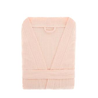 Solid colour kimono-style bathrobe in cotton gauze