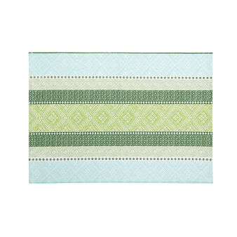 100% cotton table mat with multi-striped print