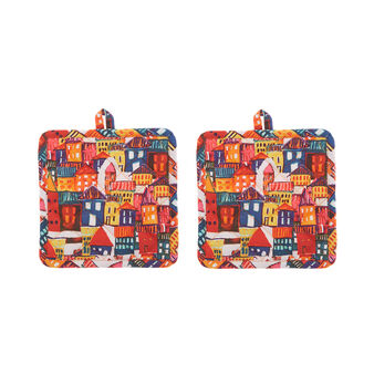 Set of 2 pot holders in cotton twill with house print