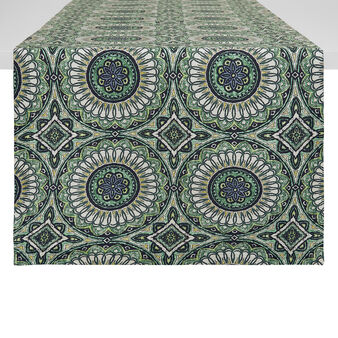 100% cotton table runner with circles print