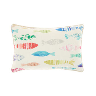 Cushion with coloured fish print