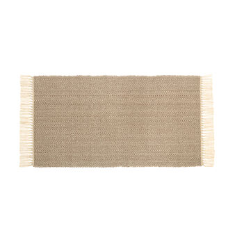 Cotton kitchen mat with fringing