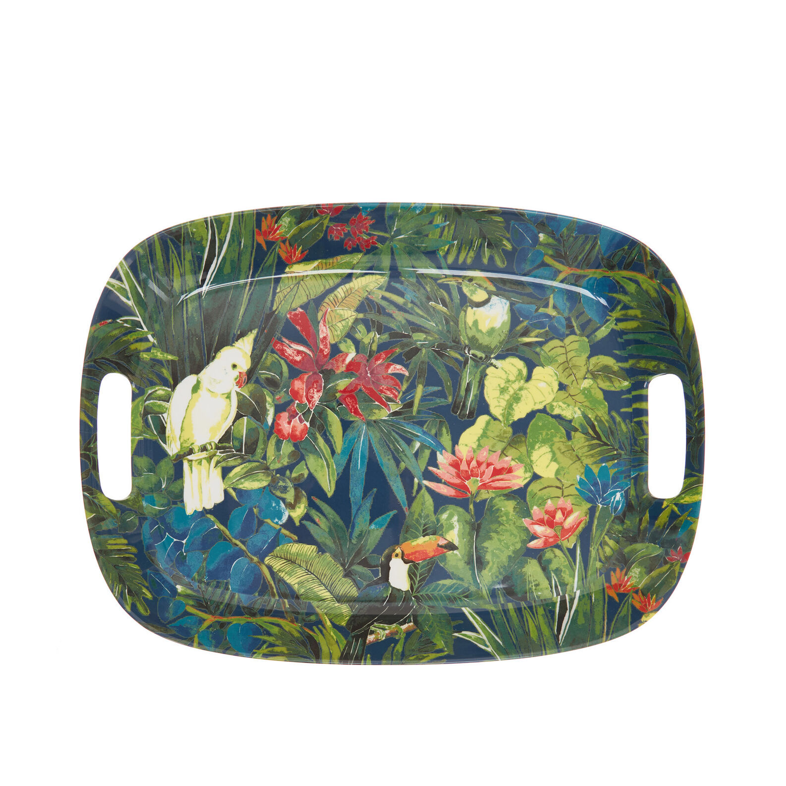 Melamine tray with tropical motif