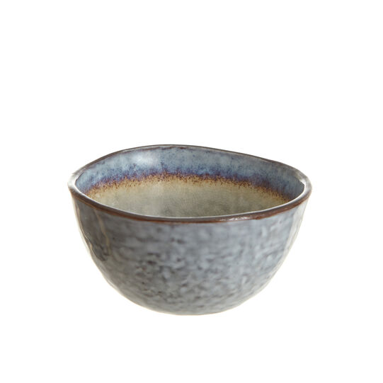 Small stoneware vinaigrette bowl with reactive glaze