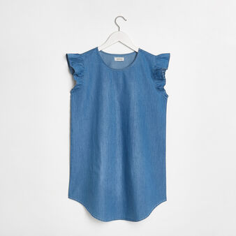 Cotton denim mini dress with frill edge