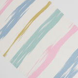 Linen blend table runner with watercolour stripes