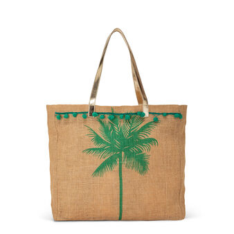Jute shopping bag with palm print