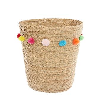 Straw basket  with pompoms