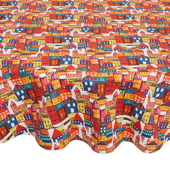 Round cotton twill tablecloth with house print