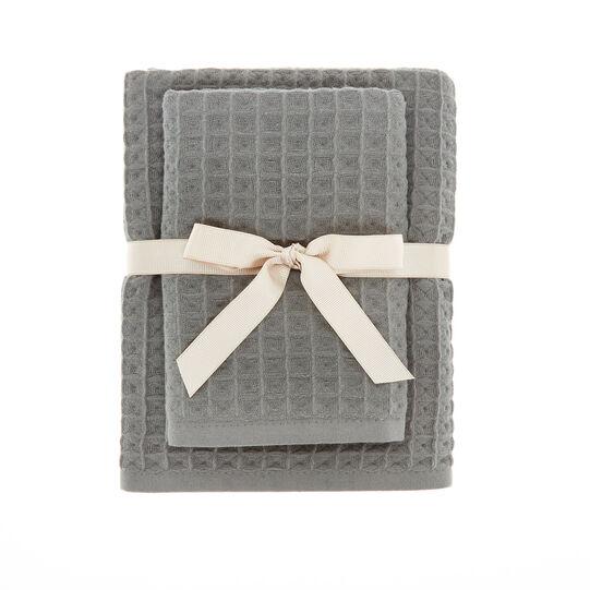 Solid color honeycomb cotton towel set