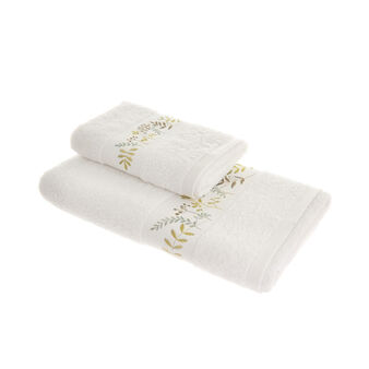 100% cotton towel with leaf embroidery