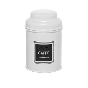 White metal COFFEE jar with lid