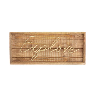 Decorative Explore plaque in wood