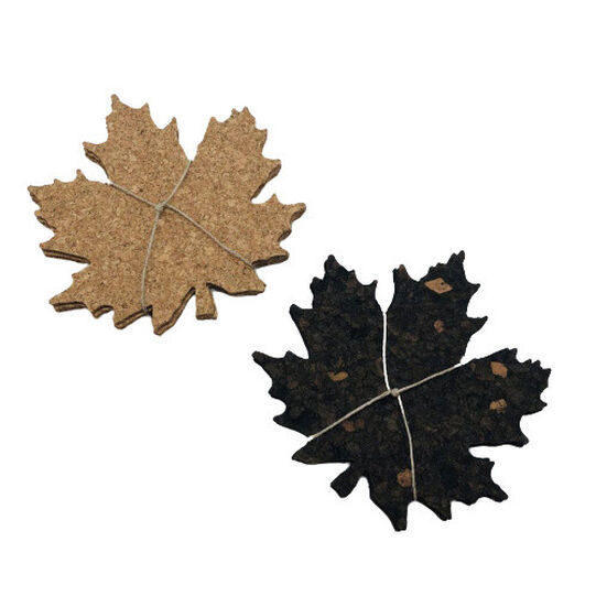 Set of 4 cork leaf coasters