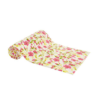100% cotton throw with flower print