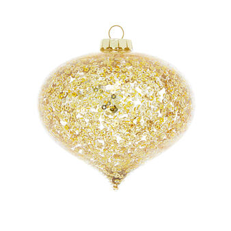 Hand-decorated onion bauble with sequins