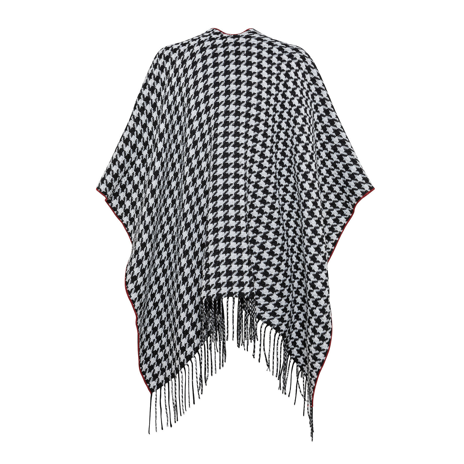 Houndstooth cape with Koan fringes