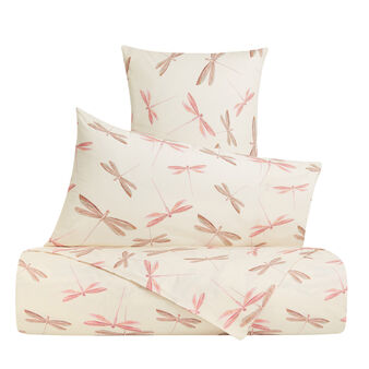 Flat sheet in cotton percale with dragonfly pattern