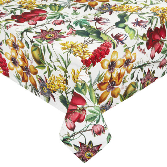 Cotton twill tablecloth with floral print