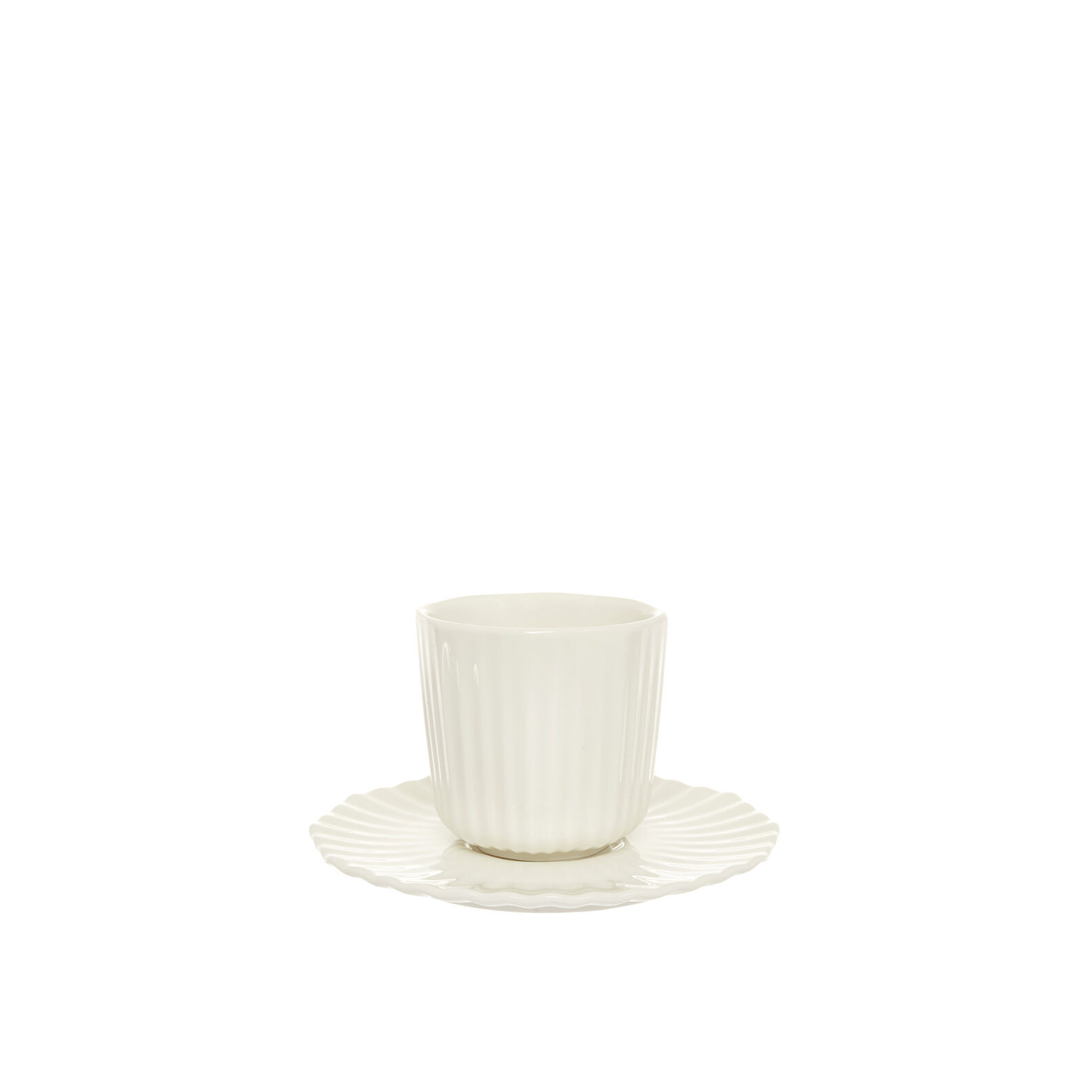 Striped porcelain coffee cup