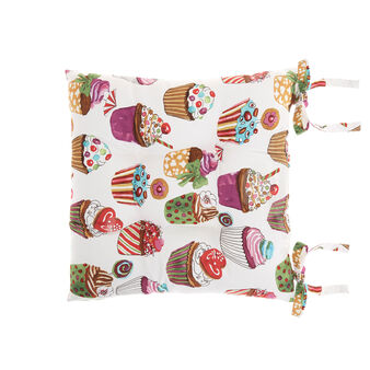 Cotton twill seat pad with cupcakes print by Sandra Jacobs design