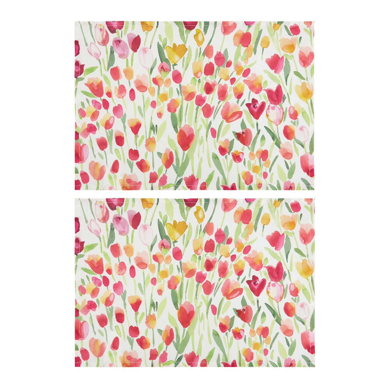 Set of 2 table mats in 100% cotton with tulips print