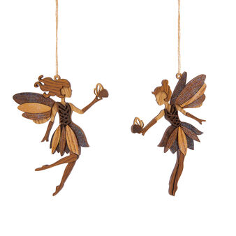 Assorted fairy decoration in wood and glitter