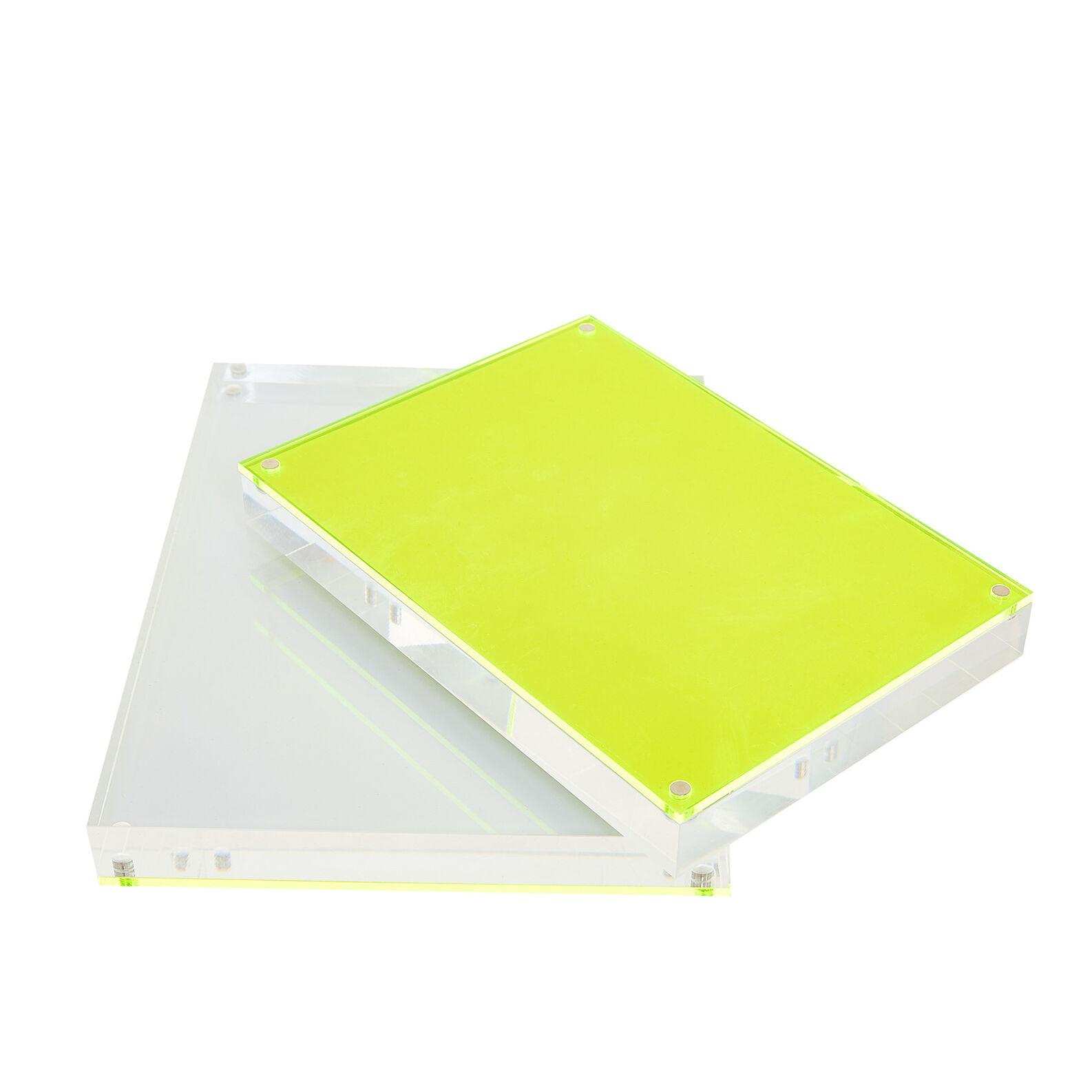 Plastic photo frame with fluorescent details