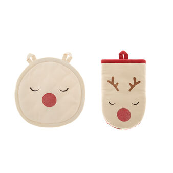 Pot holder and oven mitt set in 100% cotton with reindeer print